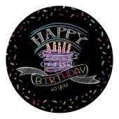 8 Teller Black Happy Birthday