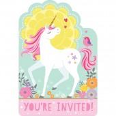 8 Einladungen + Umschläge Magical Unicorn