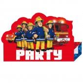 8 Einladungen + Umschläge Feuerwehrmann Sam