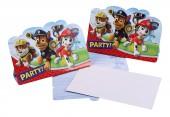 8 Einladungen + Umschläge Paw Patrol