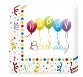 20 Servietten Happy Birthday Streamers