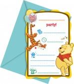 6 Einladungen + Umschläge Winnie the Pooh - Sweet Tweets