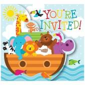 8 Einladungen + Umschläge Arche Noah