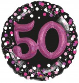 XXL Folienballon 50. Geburtstag - Sparkling Pink