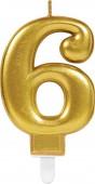 Zahlenkerze #6 - in Gold