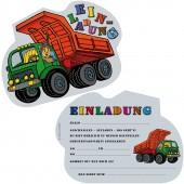 6 Einladungskarten Baustelle - Kipper