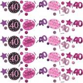 3 Tüten Konfetti 40. Geburtstag - Sparkling Pink