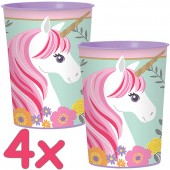 4 Kunststoff-Becher Magical Unicorn