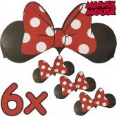 6 Minnie Mouse-Ohren + Schleifen