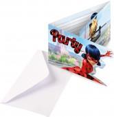 8 Einladungen + Umschläge Miraculous Ladybug