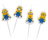 4 Mini-Figurenkerzen Ich einfach unverbesserlich - Minions