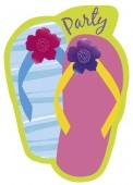 8 Einladungen + Umschläge Beach Party