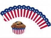 12 Cupcake Deko-Banderolen USA / Amerika für Muffins