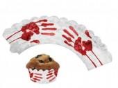 12 Cupcake Deko-Banderolen Horror - Blutige Hand