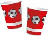 10 Becher Fußball - Rot