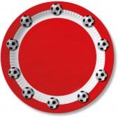 10 Teller Fußball - Rot