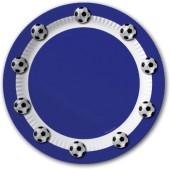 10 Teller Fußball - Blau