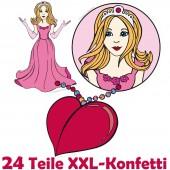 XXL Konfetti Prinzessin als Tischdeko beim Kindergeburtstag