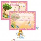 6 Einladungen + Umschläge DIN A6 Feen / Elfen