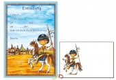 12 Einladungen + Umschläge DIN A5 Indianer