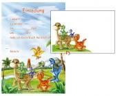 12 Einladungen + Umschläge DIN A5 Dinosaurier / T-Rex