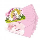 8 Stanzkarten - Einladungen + Umschläge Prinzessin Miabella