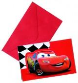 12-teiliges Einladungskarten-Set Cars Red