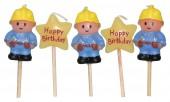 5 Mini-Figurenkerzen Bauarbeiter