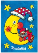 Fensterbild + Postkarte Nikolaus auf dem Mond
