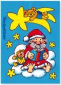 Fensterbild + Postkarte Nikolaus auf Wolke