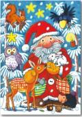 Fensterbild + Postkarte Weihnachtsmann im Wald