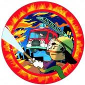 8 Teller Feuerwehrmann Flo