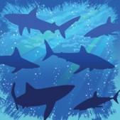 16 kleine Servietten Haifisch