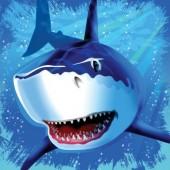 16 große Servietten Haifisch