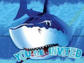 8 Einladungen + Umschläge Haifisch