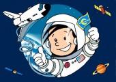 Einladungskarte / Postkarte Astronaut Flo