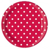 10 Teller Gartenparty (Red Dots)