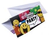 6 Einladungskarten + Umschläge Smiley World