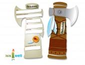 6 Einladungskarten als Tomahawk (Indianer)