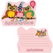 6 Einladungskarten Eulen