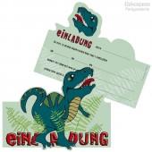 6 Einladungskarten Dinosaurier / T-Rex