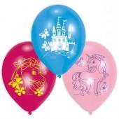6 Luftballons Regenbogen-Einhorn