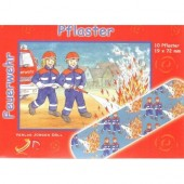 10 Pflaster Feuerwehr / 2 Feuerwehrmänner für Kinder