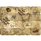 4 Schatzkarten für Piraten / Kindergeburtstag