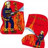 6 Einladungskarten Feuerwehr / Feuerwehrmann