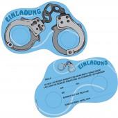 6 Einladungskarten Handschellen für Polizei Kindergeburtstag