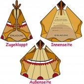 6 Einladungskarten Indianer Tipi