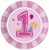 8 Teller 1. Geburtstag - Mädchen