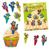 8 Cupcake Deko-Sticks Süße Katzen