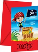12-teiliges Einladungskarten-Set Little Pirates